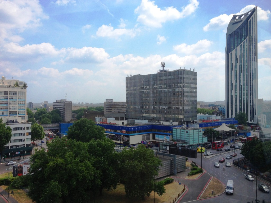 Elephant & Castle shopping centre and Strata viewed from Perronet House - kenningtonrunoff.com