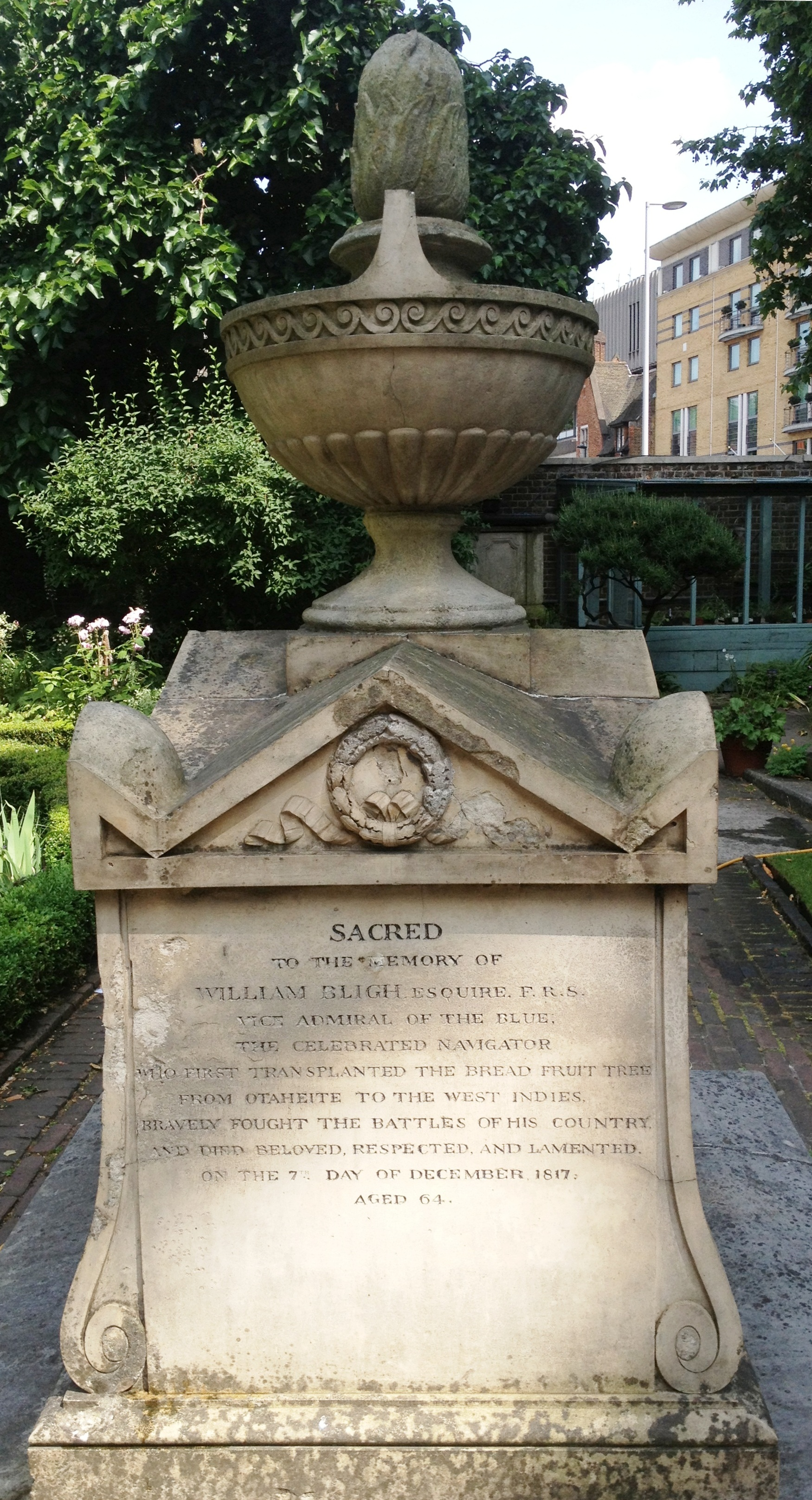The grave of William Bligh, The Garden Museum garden (formerly St Mary's) - kenningtonrunoff.com