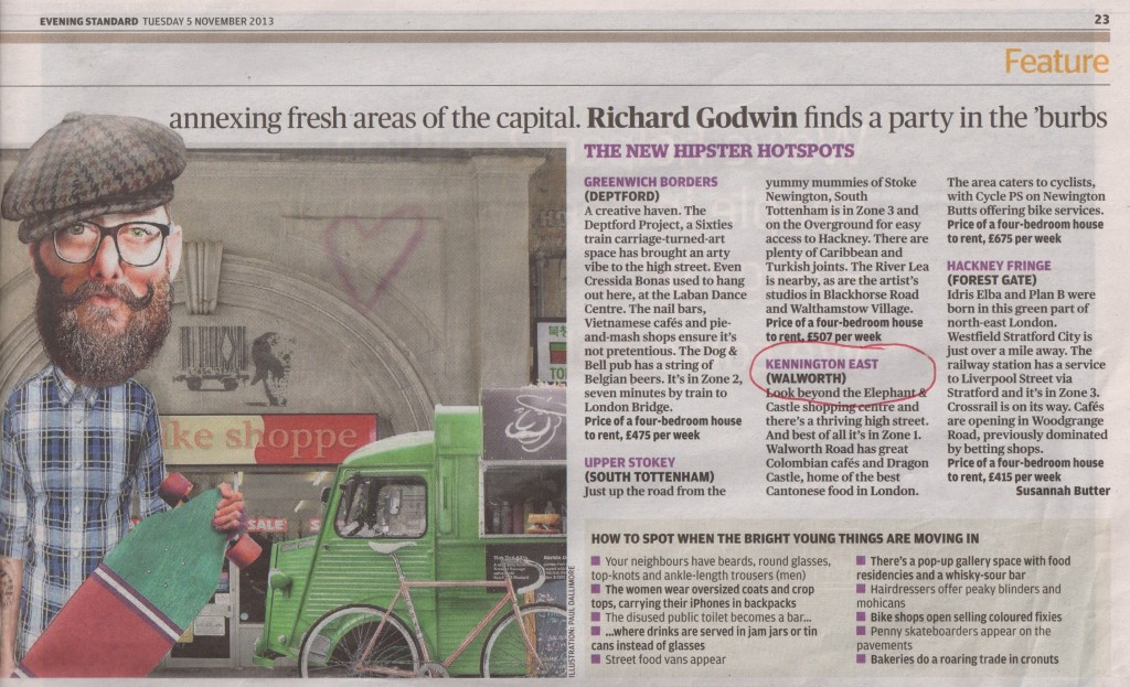 Evening Standard on East Kennington
