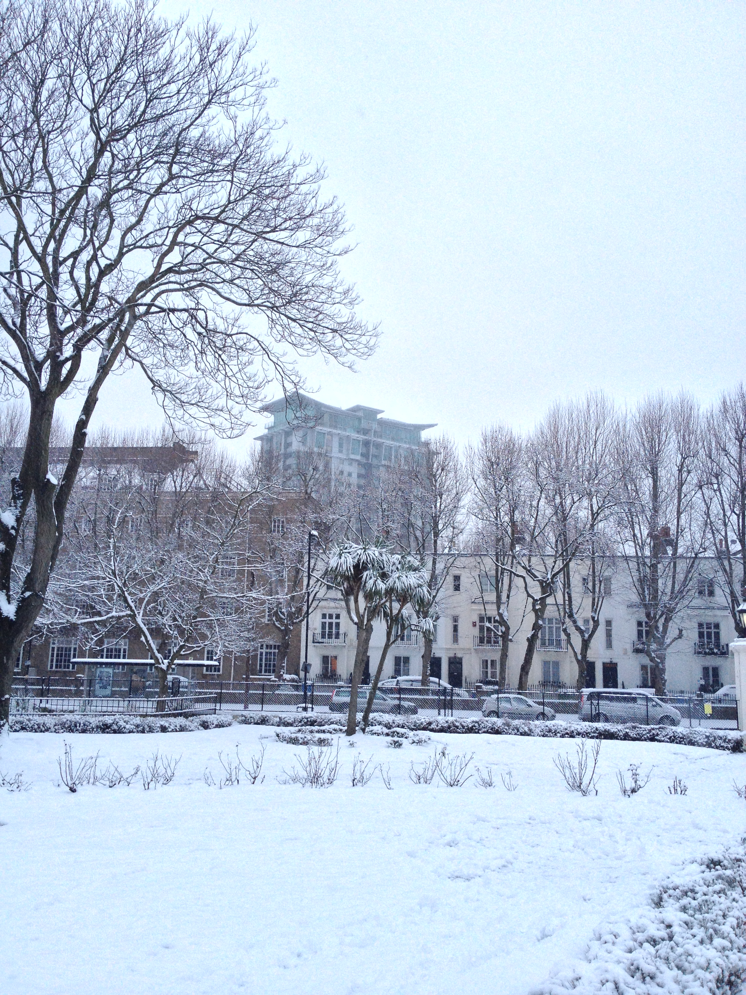 Perspective Building and Lambeth Road from Geraldine Mary Harmsworth Park in snow - kenningtonrunoff.com
