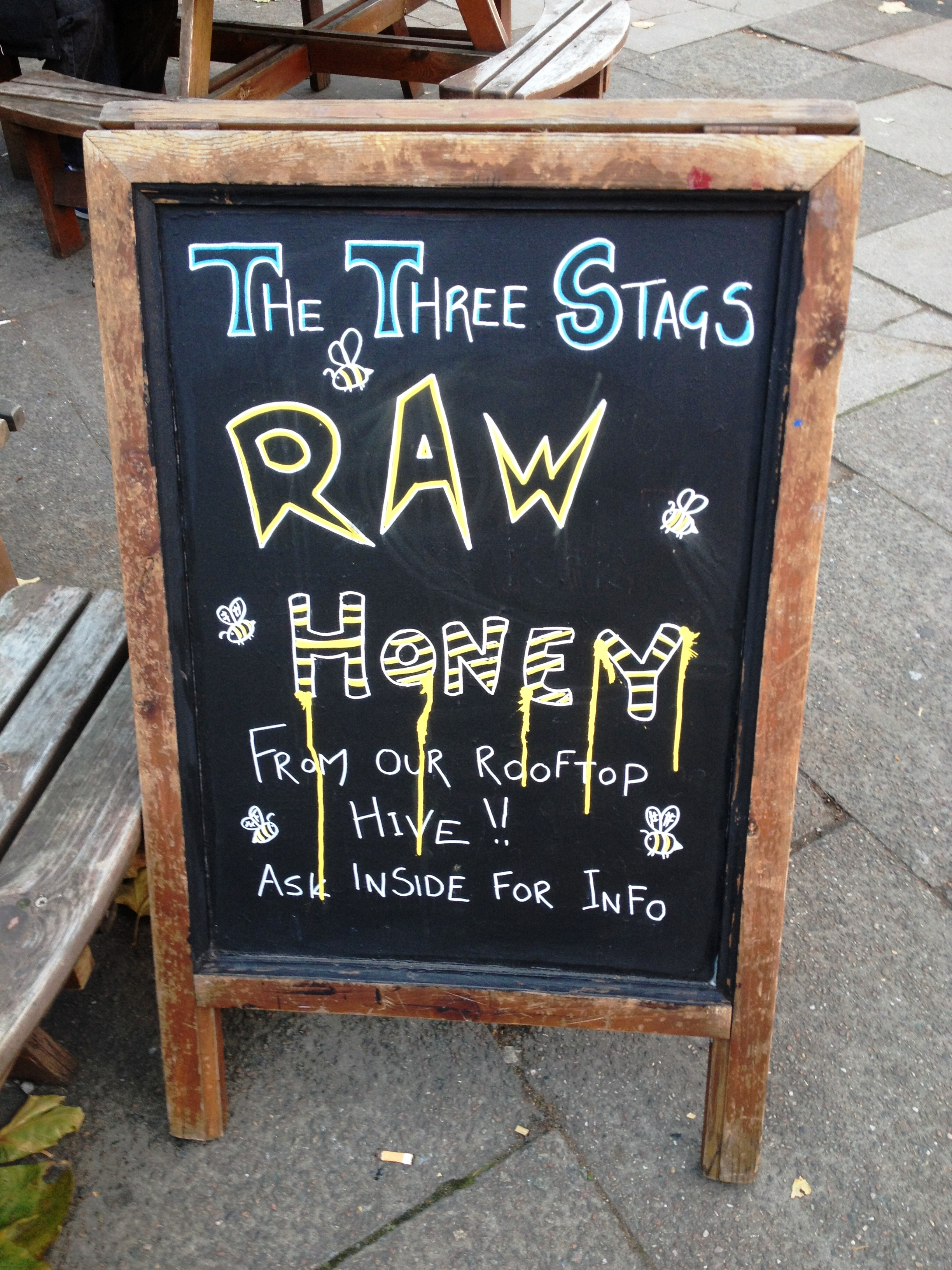 The Three Stags raw honey sign - kenningtonrunoff.com