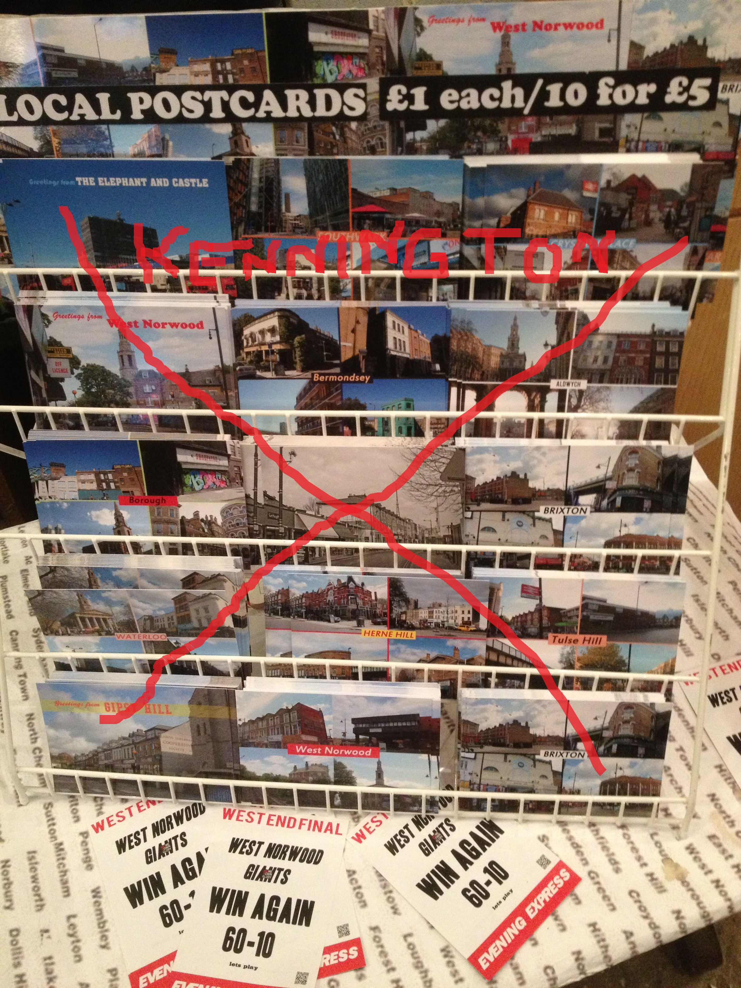Kennington vs local postcards, Lassco Maltby Street - kenningtonrunoff.com