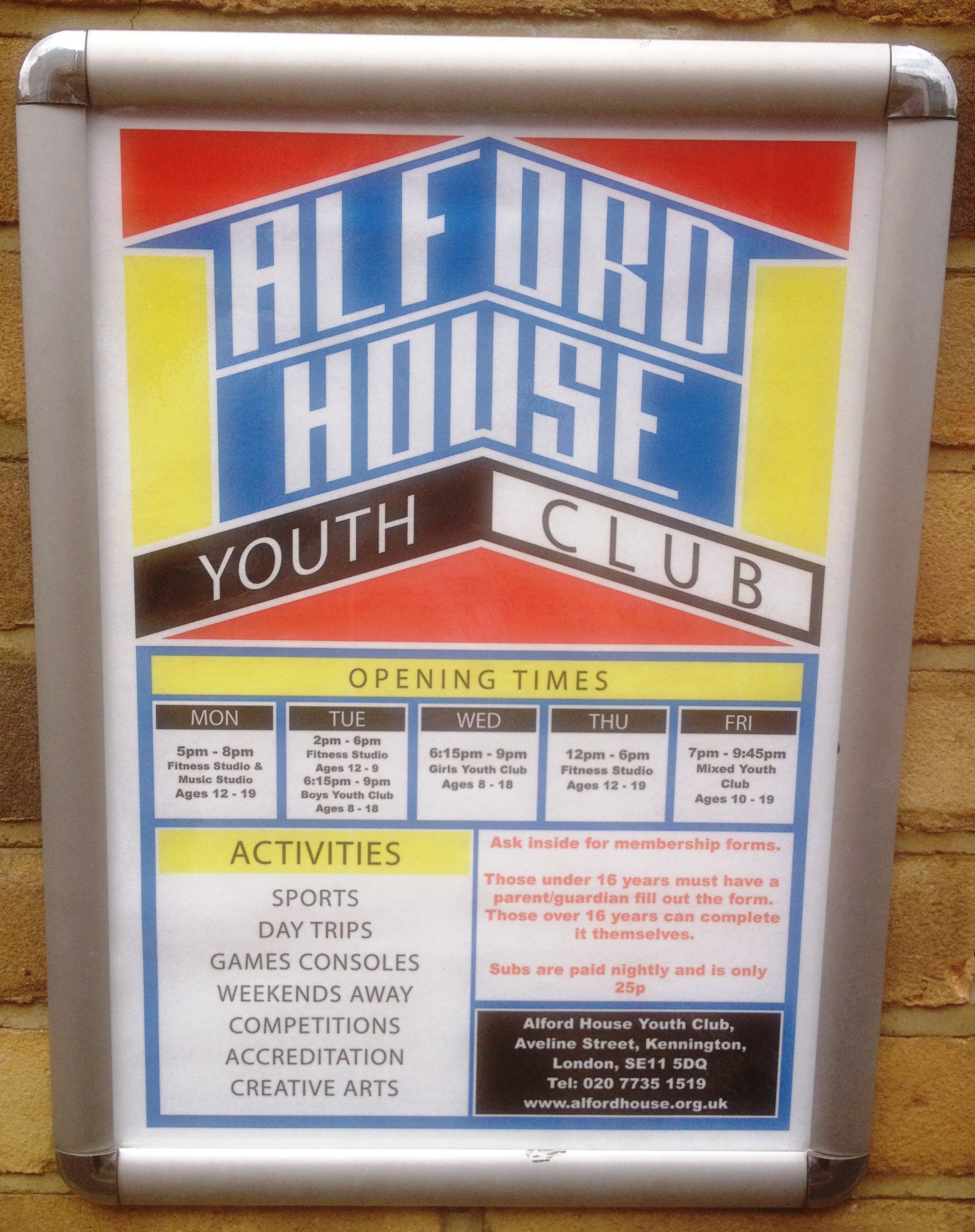 Alford House Youth Club programme - kenningtonrunoff.com