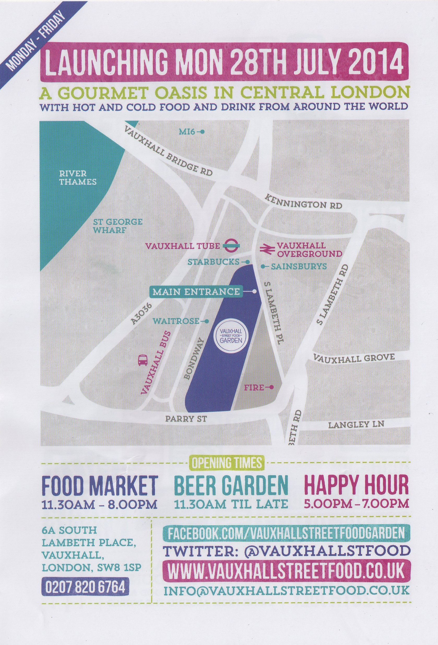 Vauxhall Street Food Market flier - info