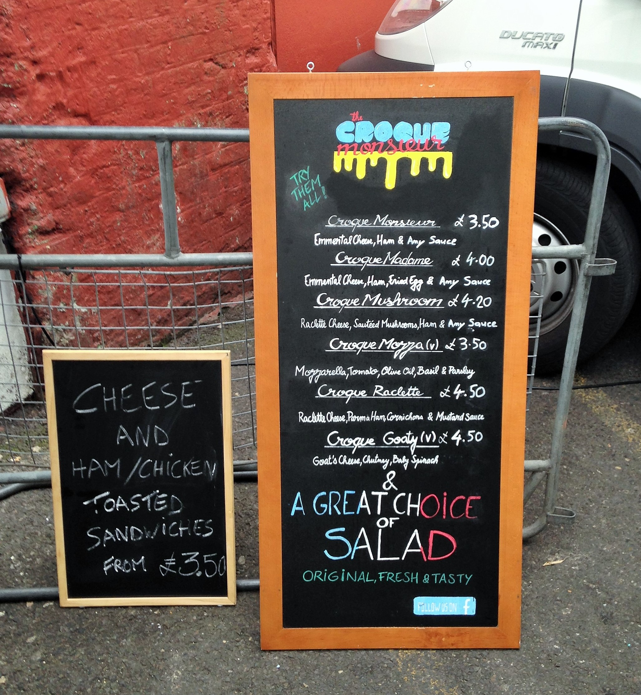 Croque Monsieur menu at Vauxhall Street Food Market - kenningtonrunoff.com