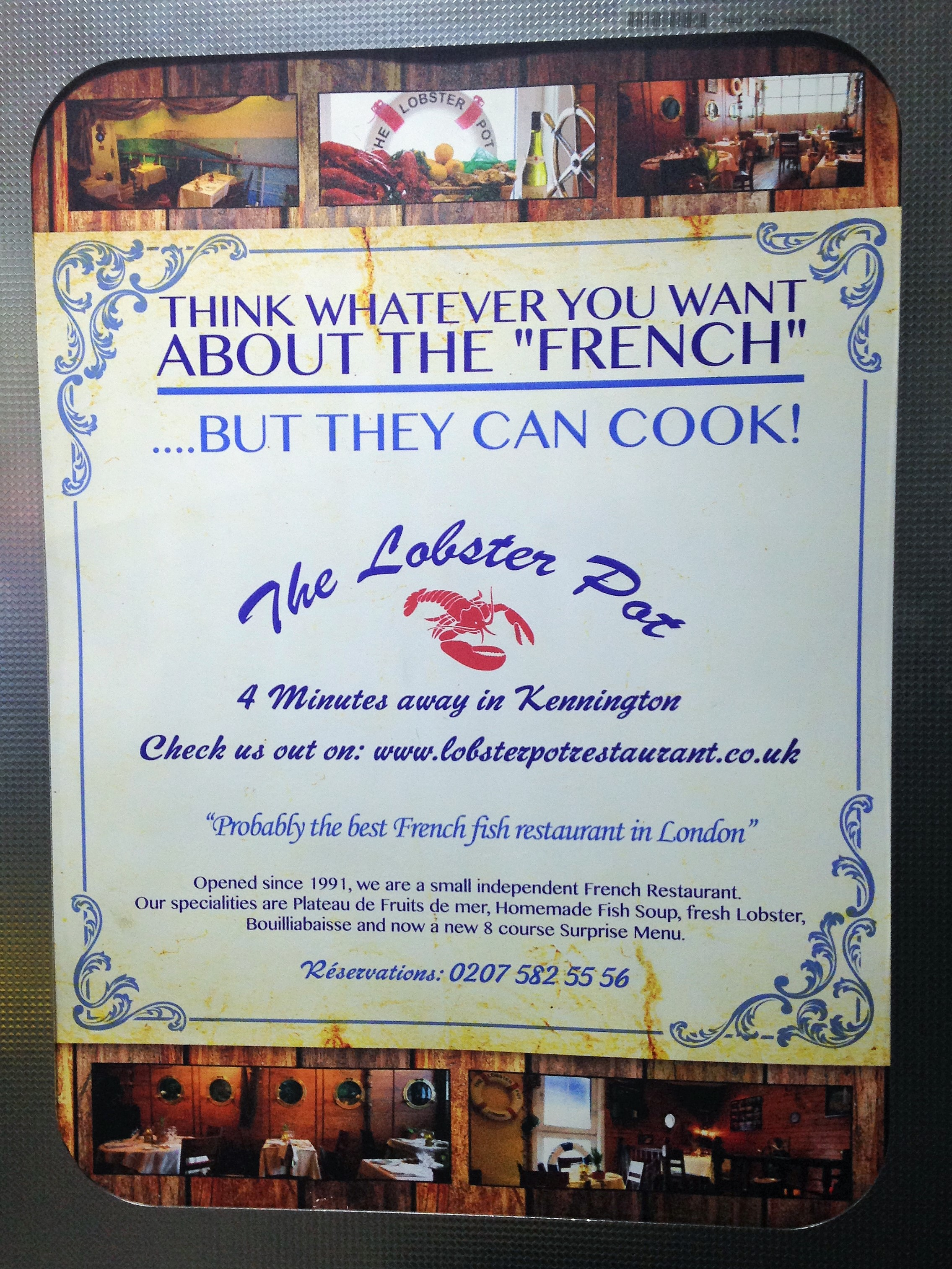 The Lobster Pot advert - Kennington tube - kenningtonrunoff.com