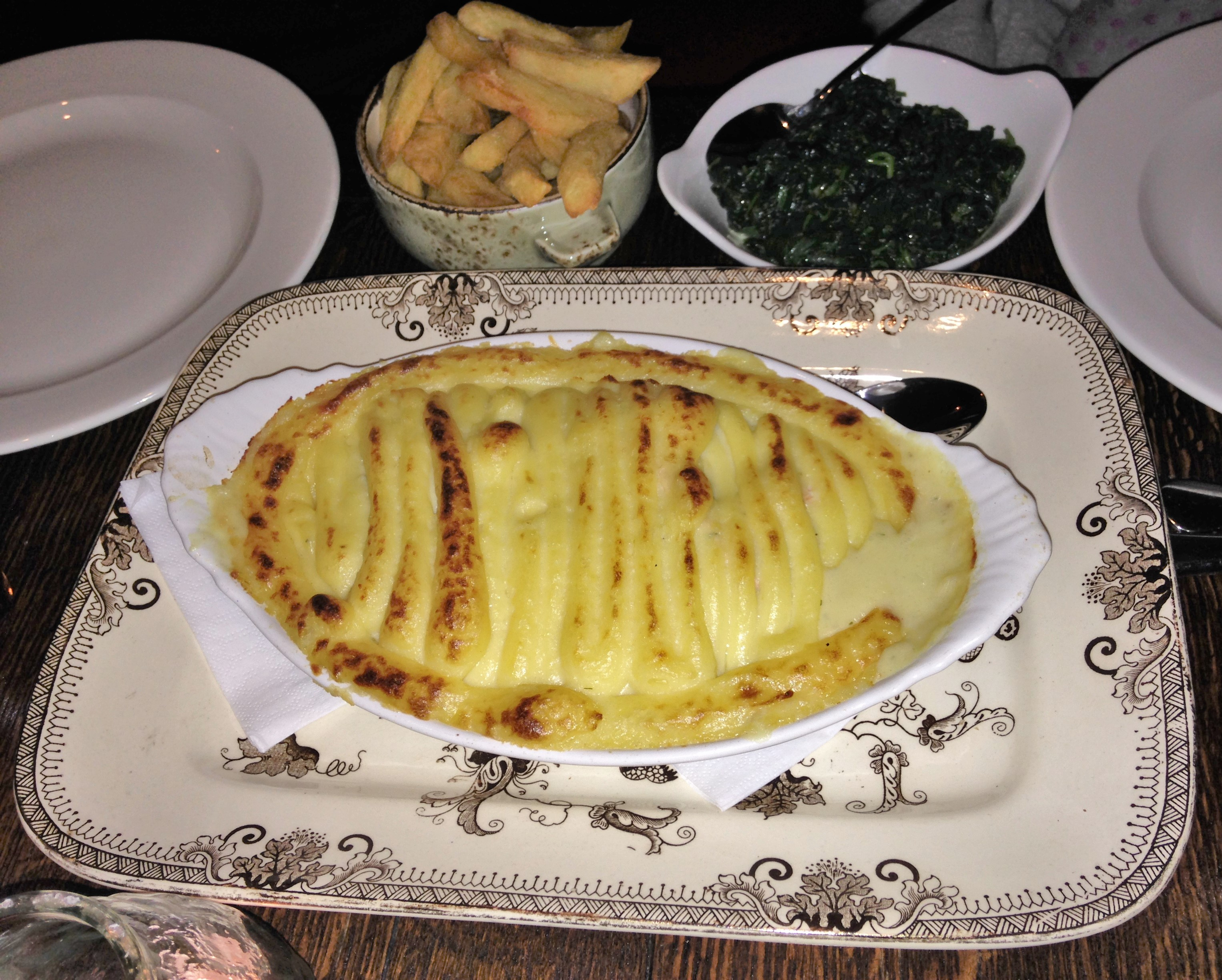 Duchy Arms fish pie for two, with handcut chips and spinach - kenningtonrunoff.com