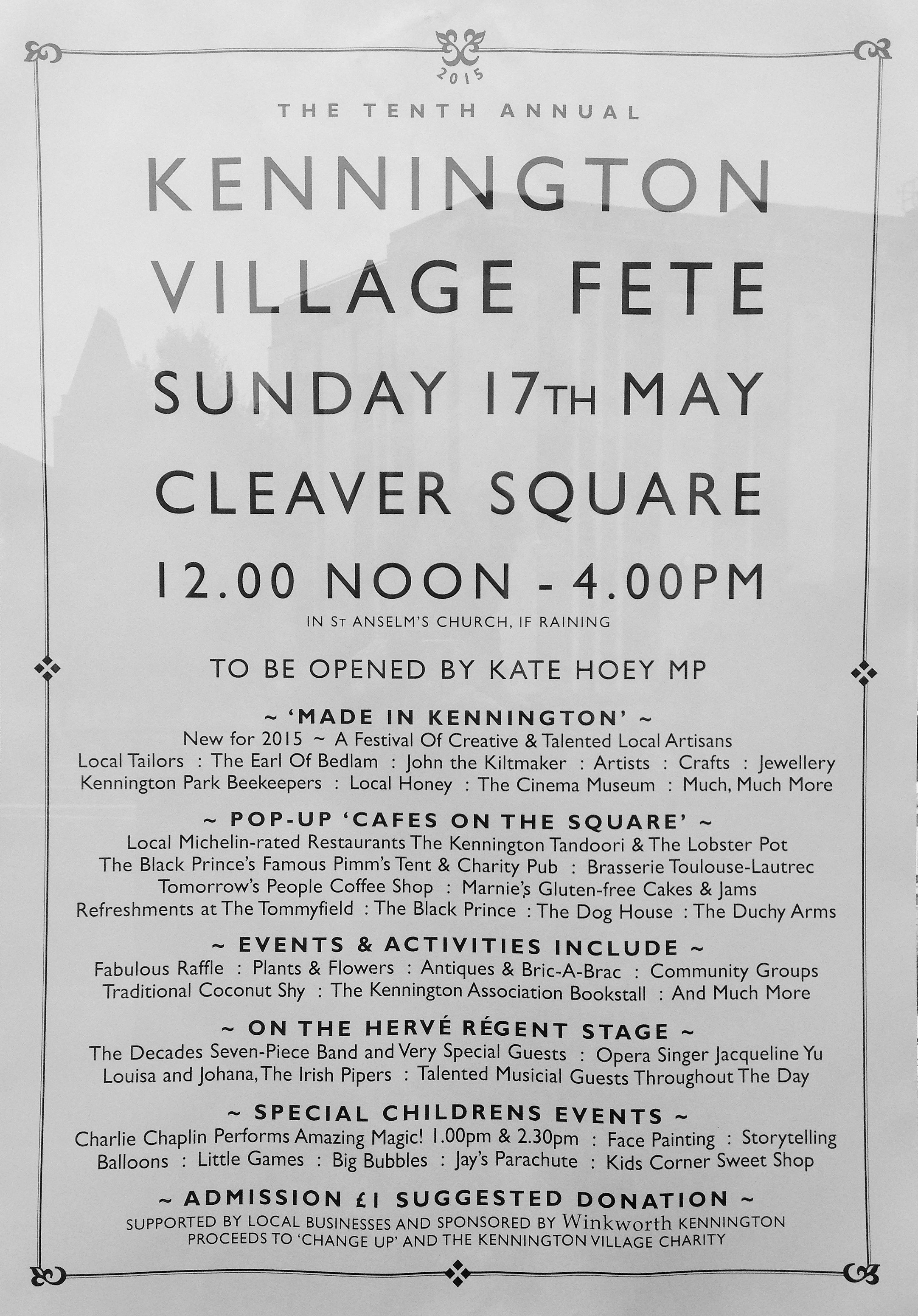 Kennington Village Fete flier