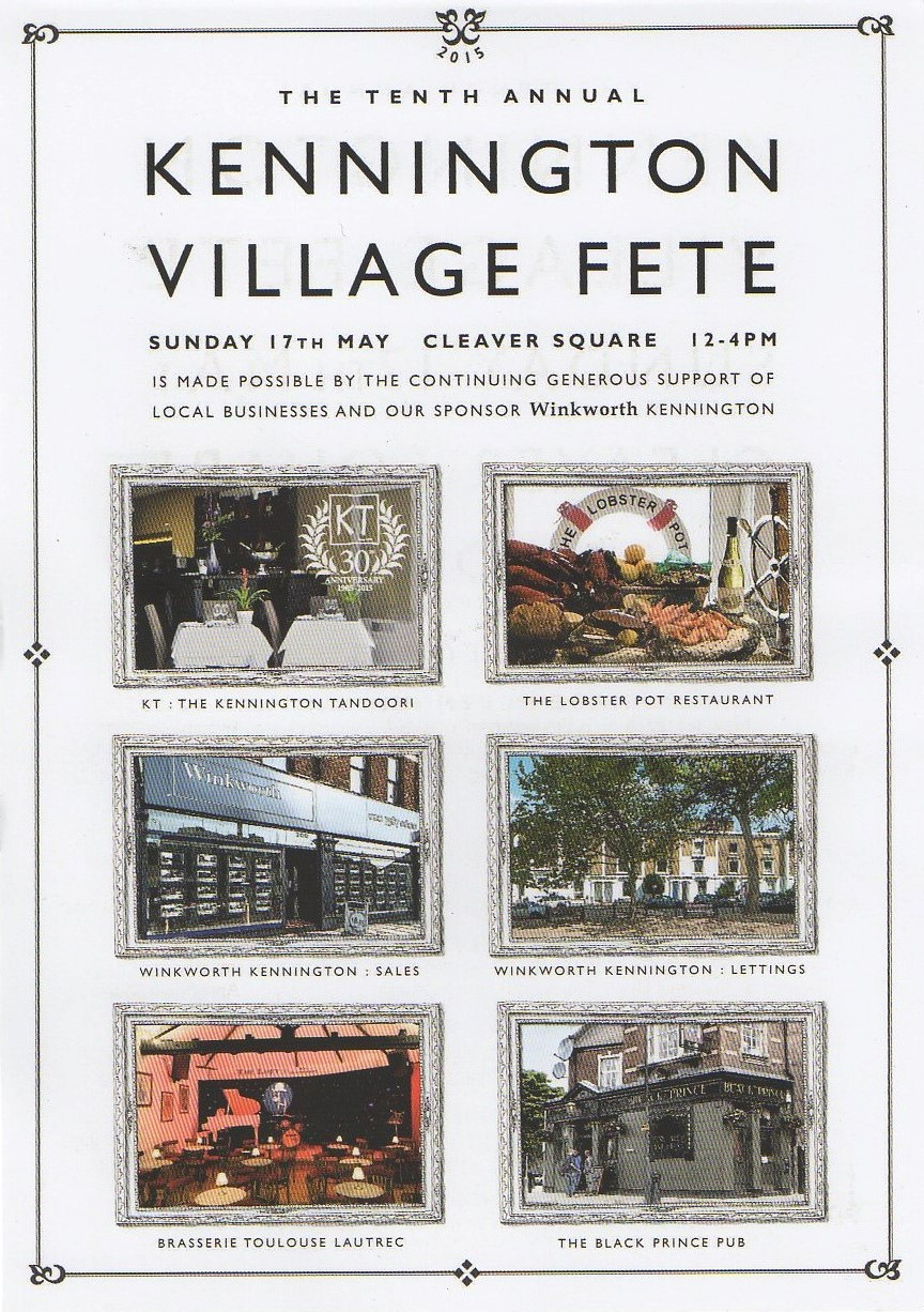 Kennington Village Fete reverse side