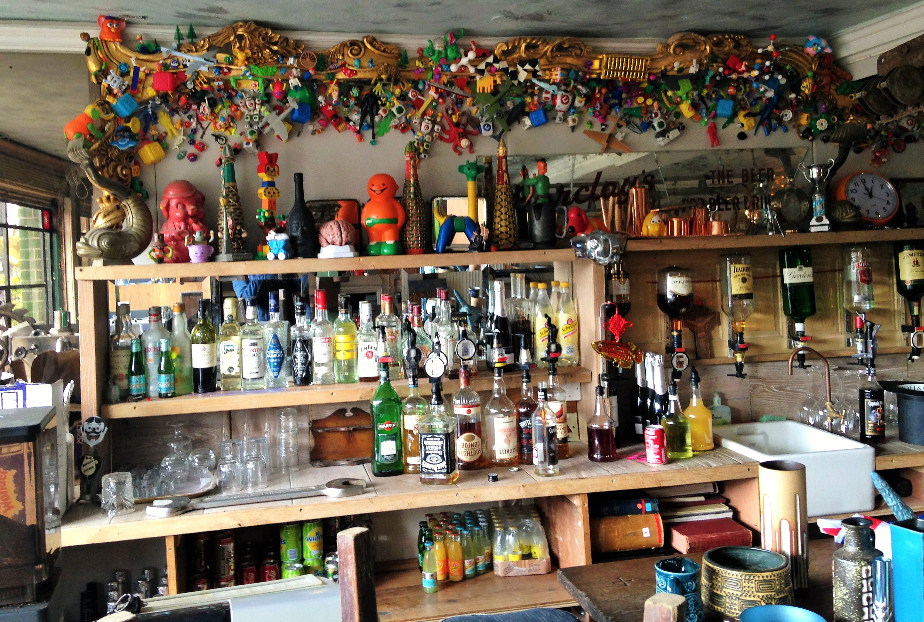 this is an old photo of the bar, which looks about 10% less chaotic now