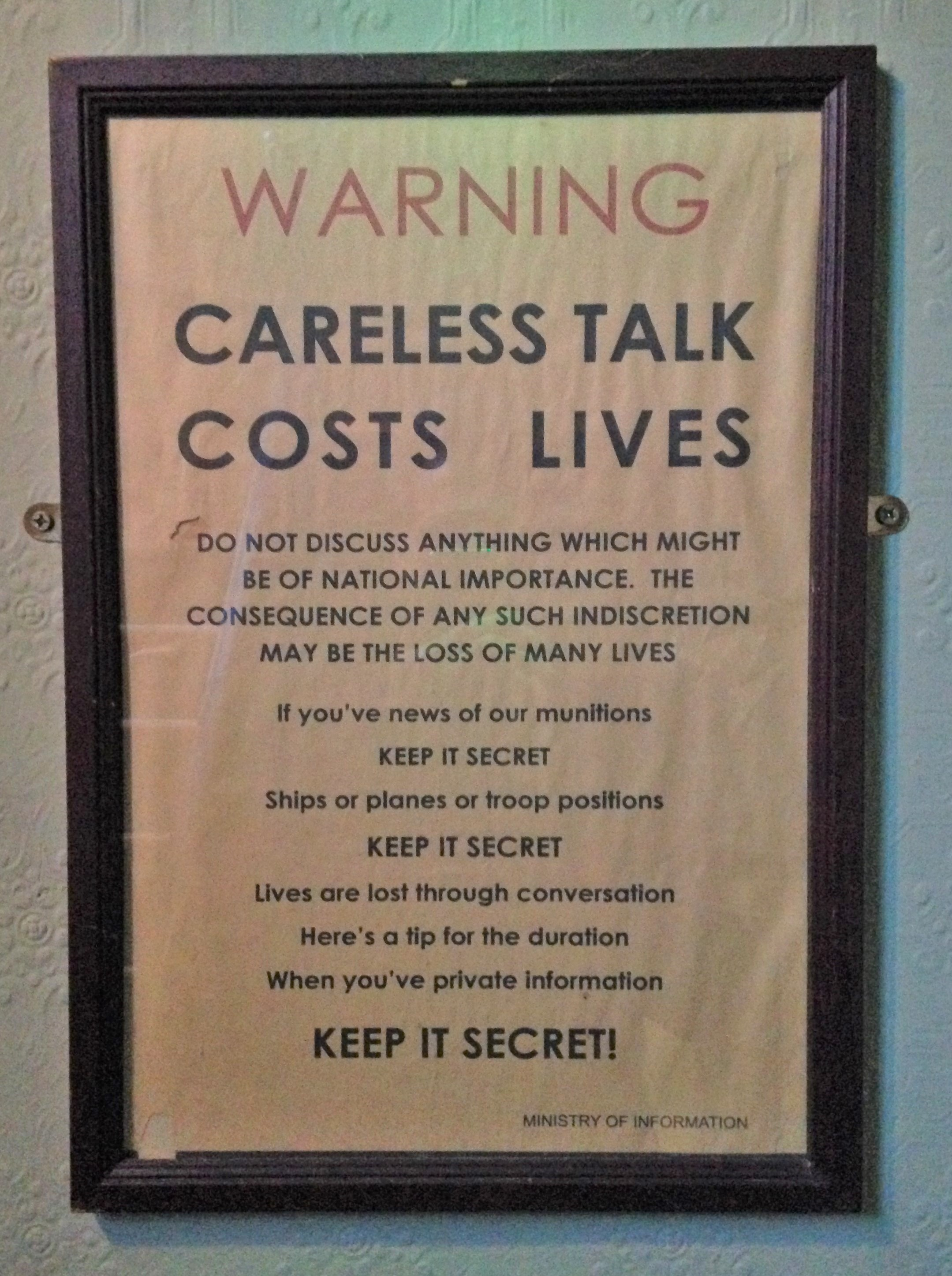 Careless Talk Costs Lives sign at The Three Stags - kenningtonrunoff.com
