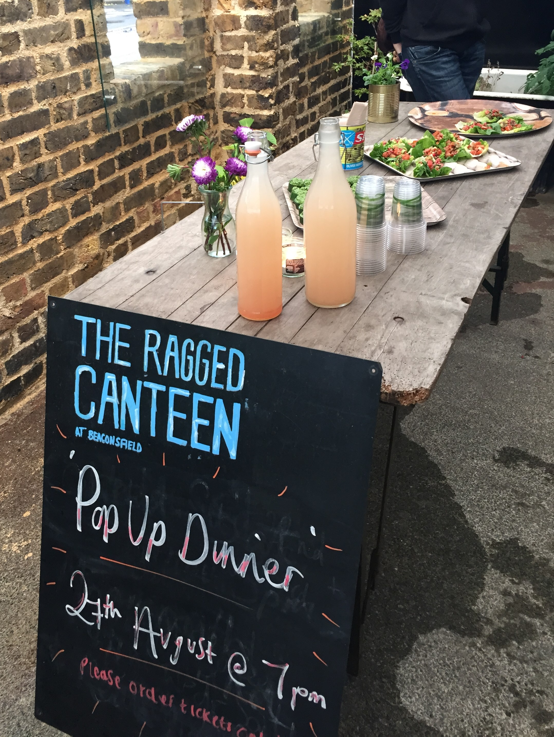 The Ragged Canteen sign and canapes - kenningtonrunoff.com