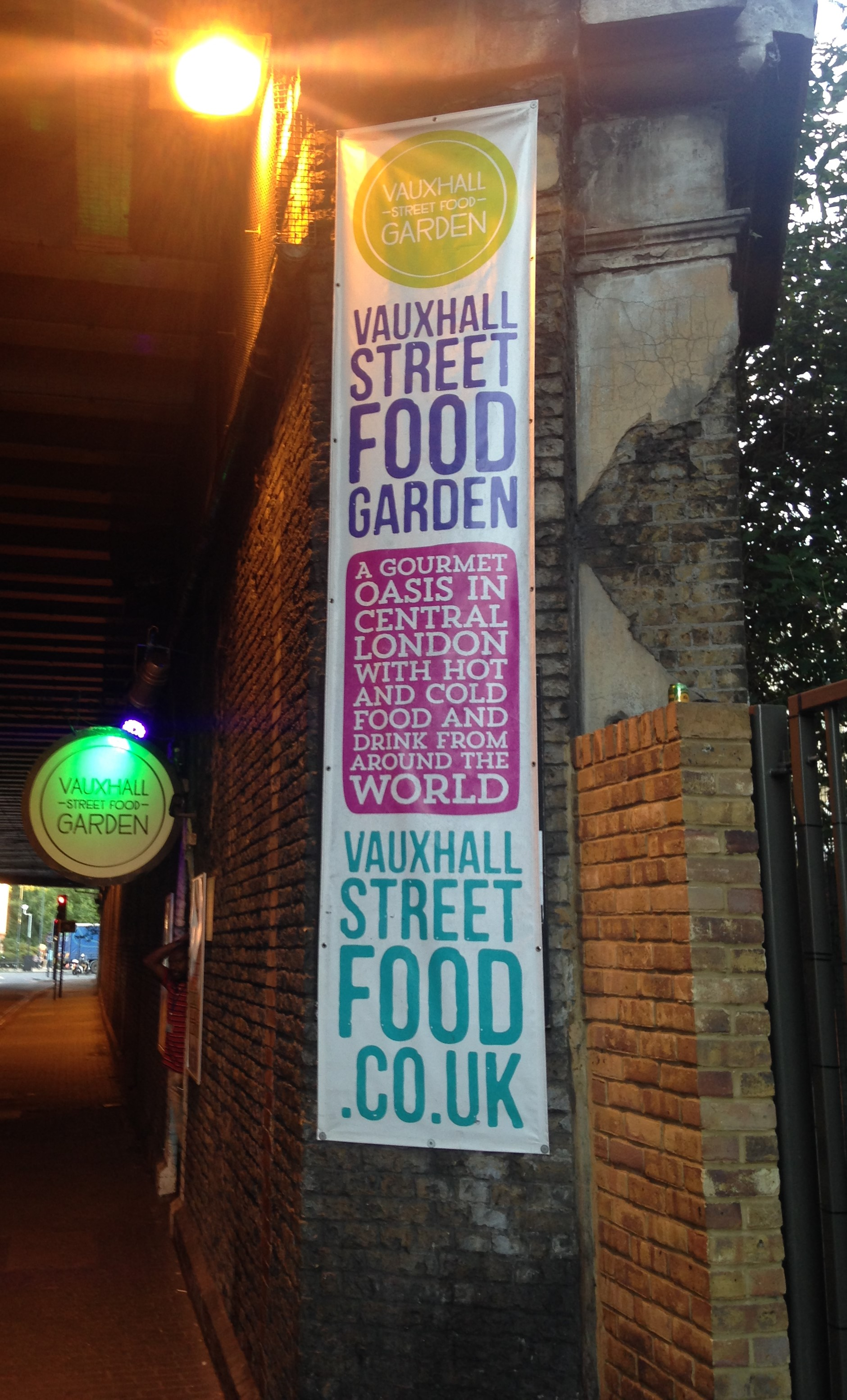 Vauxhall Street Food Garden entrance - kenningtonrunoff.com
