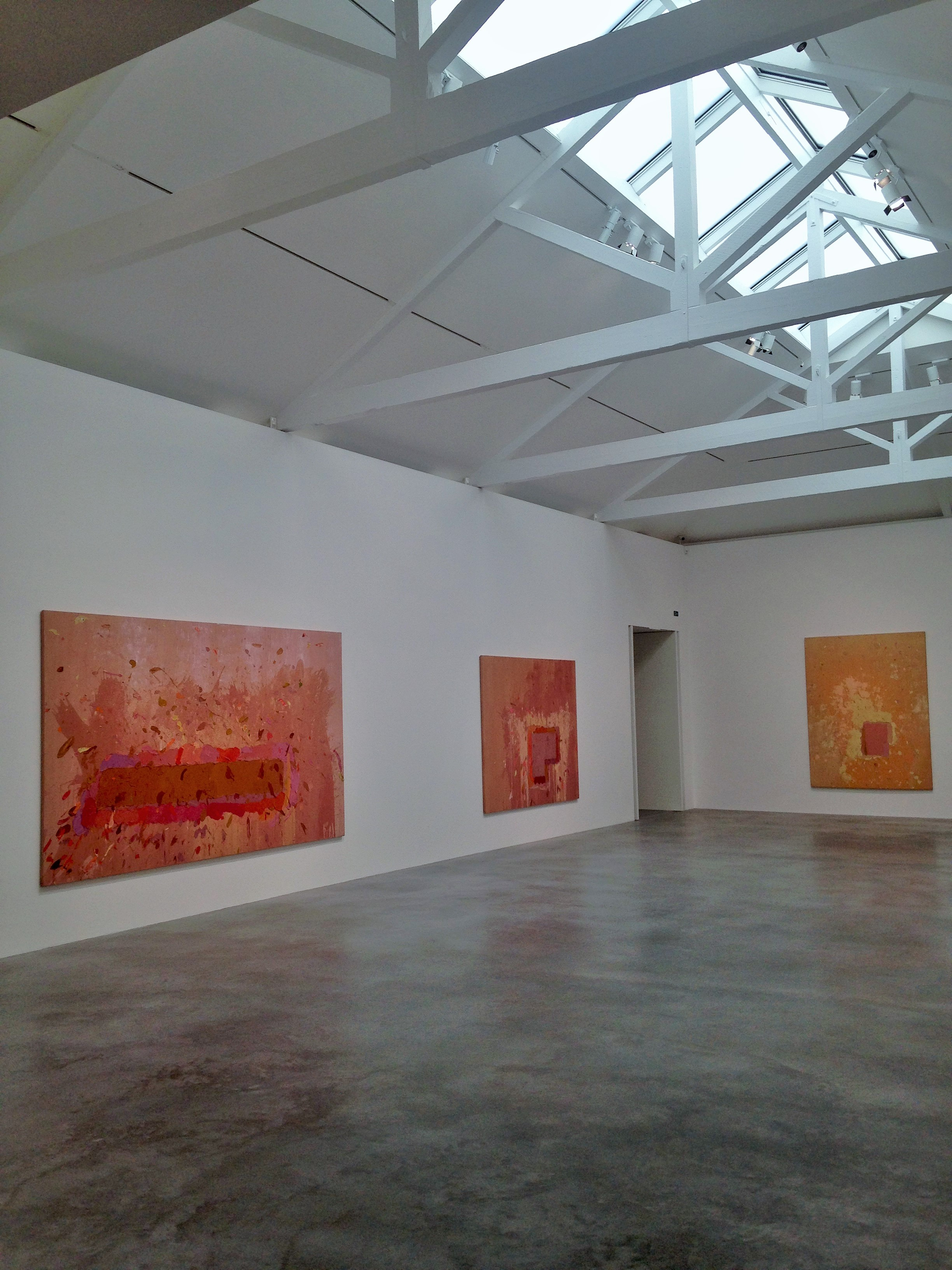 John Hoyland's Power Stations at Newport Street Gallery under skylights - kenningtonrunoff.om