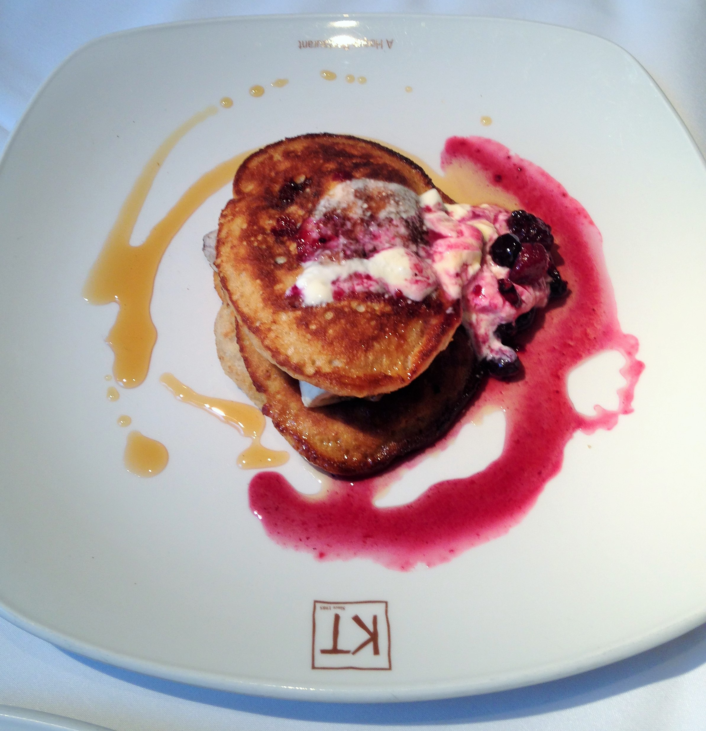 Kennington Tandoori homemade blueberry pancake with caramelised bananas, blueberry, maple syrup - kenningtonrunoff.com