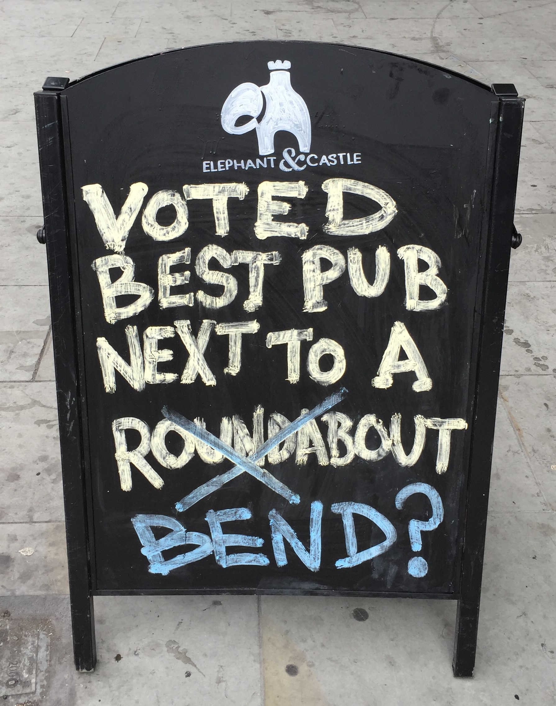 Voted best pub next to a bend sign at The Elephant & Castle pub - kenningtonrunoff.com