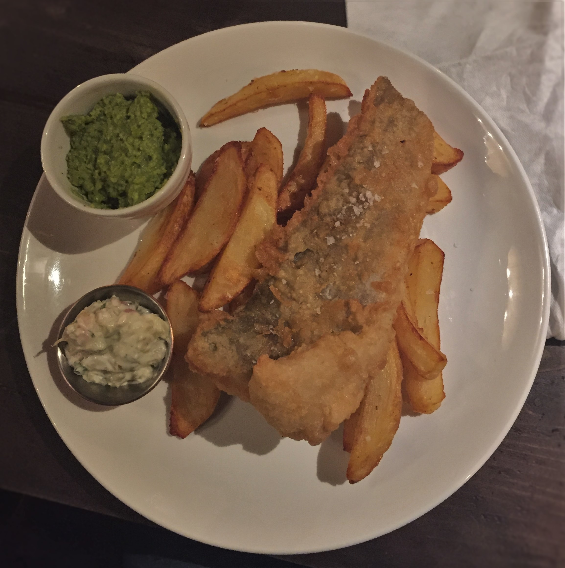 Ale battered cod, chips, mushy peas, tartare sauce at the White Bear - kenningtonrunoff.com