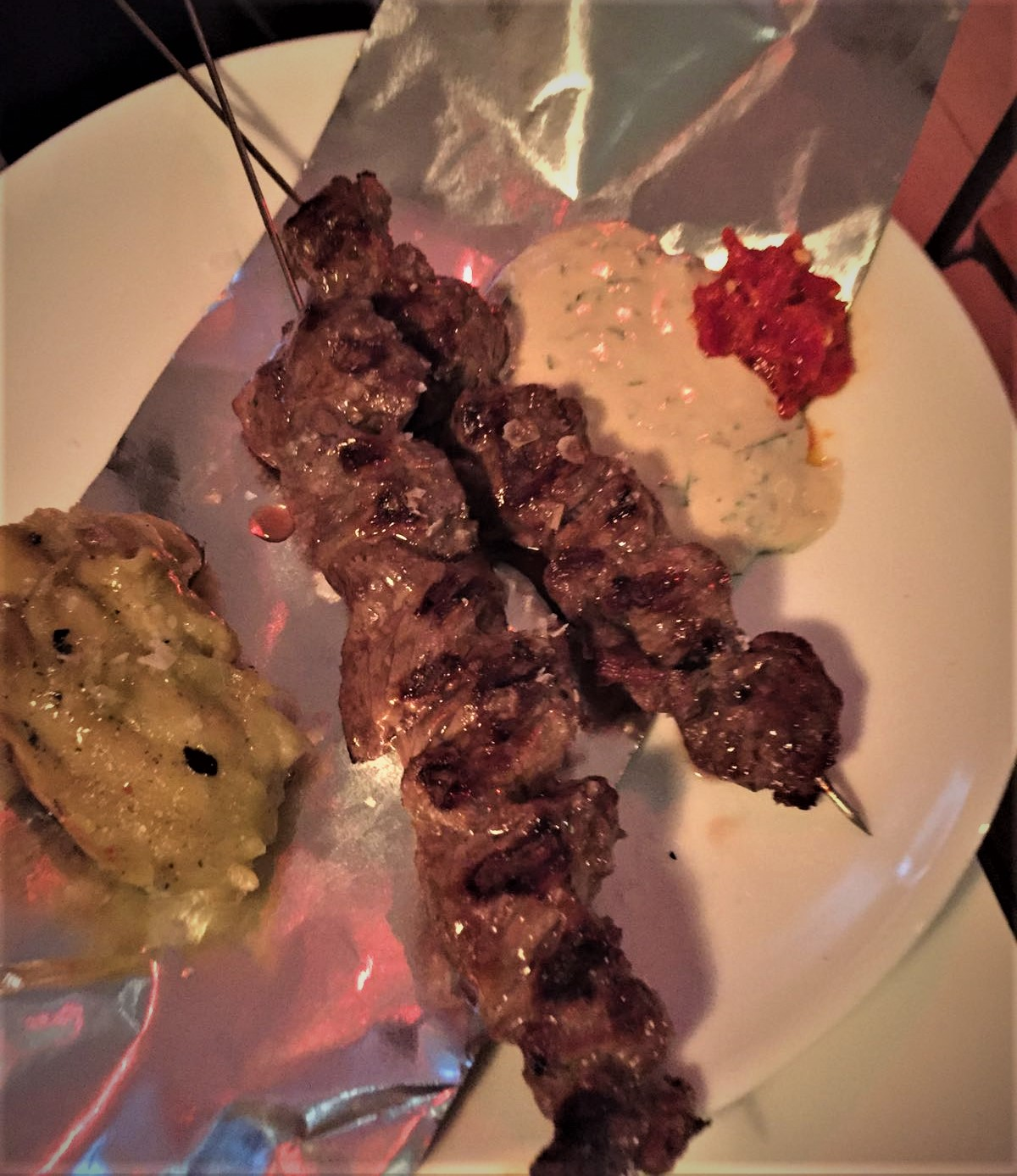 Bavette skewers, smoked aubergine and green tahini at Louie Louie - kenningtonrunoff.com