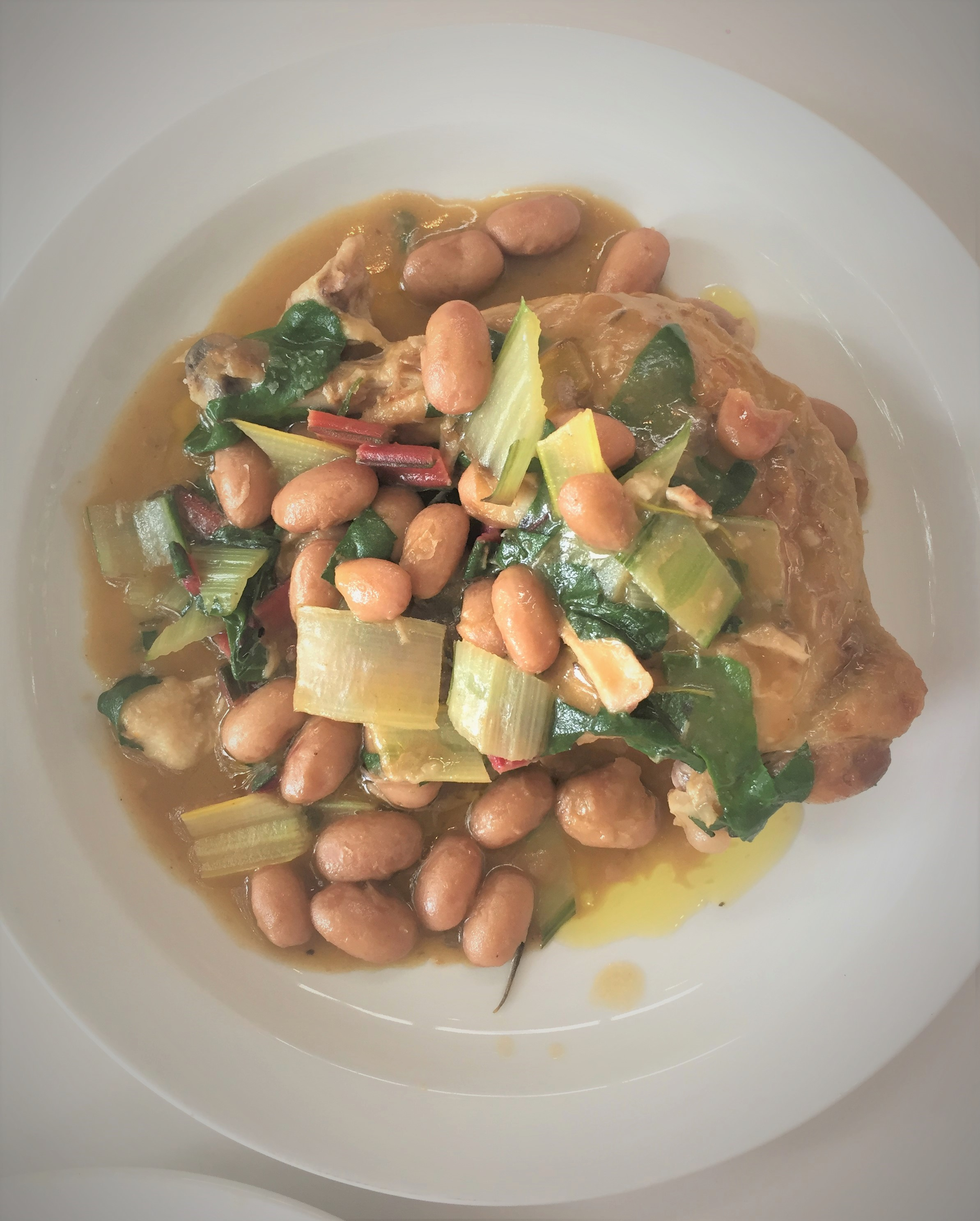 Chicken leg, rainbow chard and borlotti beans at the Garden Museum - kenningtonrunoff.com