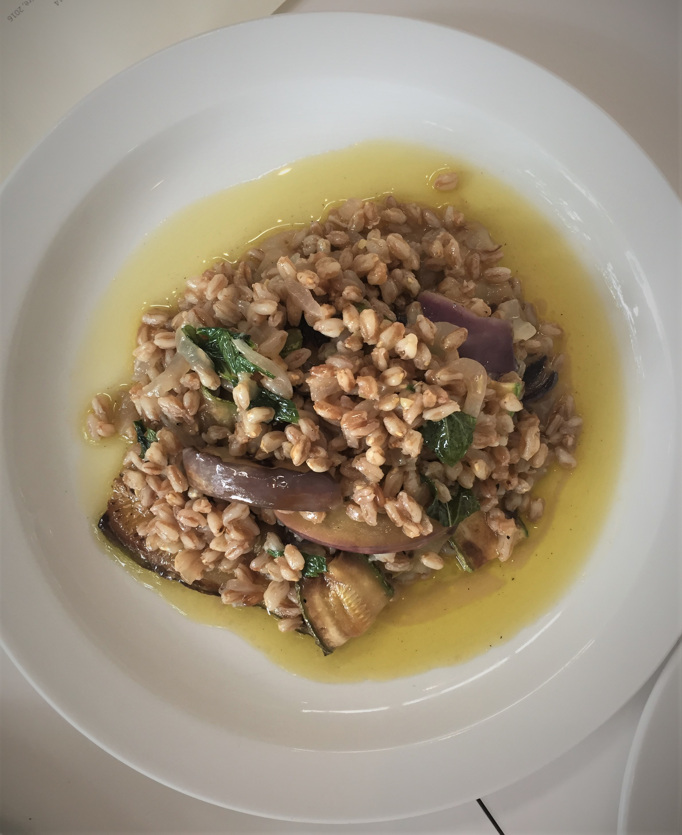 Farro, courgettes, aubergine and mint at The Garden Museum - kenningtonrunoff.com